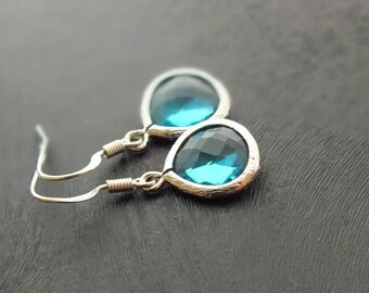 Blue Zircon Drop Earrings - Also Available in Gold, Aquamarine Earrings, Silver Filled Blue Zircon Dangle Earrings, Bridesmaid Gift