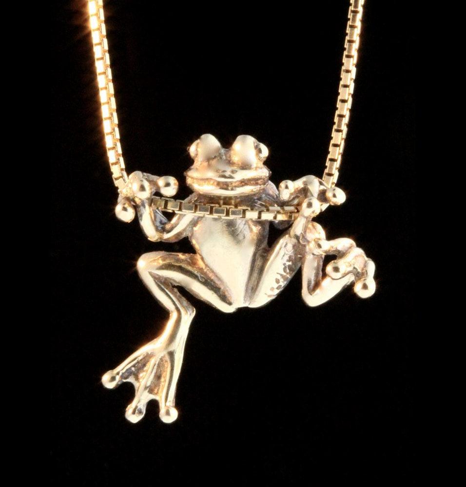 Gold Frog Necklace 14k Gold Tree Frog Charm Frog Pendant Frog