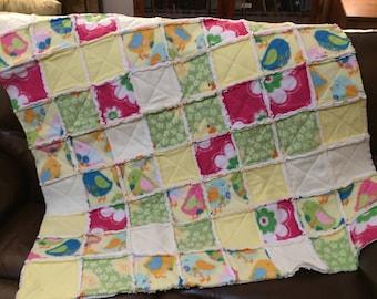 Handmade Fleece Rag Quilt, Chicks & Ducks, Crib-Toddler Bed, 46x54