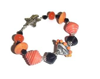 Orange and Black Lampwork Bracelet Orange Retro Lampwork Artisan Beaded Bracelet B2