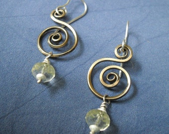 Bronze Spiral Earrings with Yellow Citrine