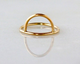 Half Moon Stacking Ring, Gold Half Moon Ring, 14k Yellow Gold Stacking Ring, Geometric Jewelry, Modern Gold Ring, Stackable Ring