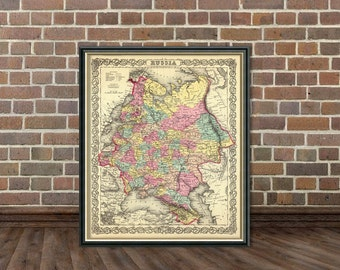Vintage map of Russia -  An old  Russia map from 1856  - fine reproduction