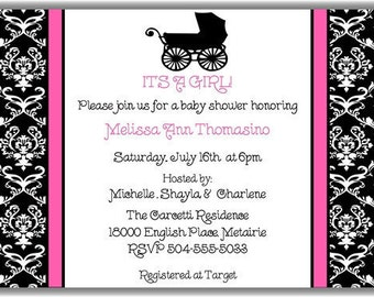 Pink Damask Baby Carriage Girl Personalized Printable Digital DIY Invite or Card ( Any Wording or Text)