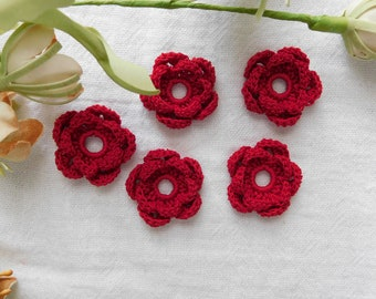 Hand Crocheted Little Cardinal Red Rosettes - Set Of 5