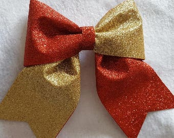 Red and Gold Glitter Hairbow