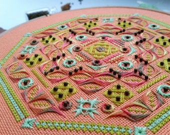 Needlepoint PDF pattern - Counted thread detailed stitching tutorial - Needlework instruction - Embroidery DIY - DIY booklet.
