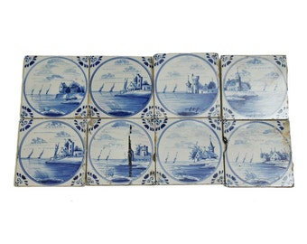 Dutch scenic blue tile set
