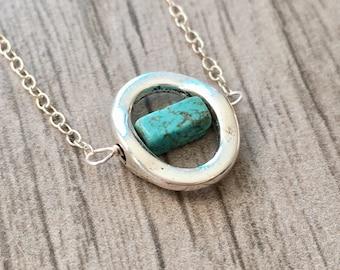 Turquoise Necklace, Stone Necklace, Turquoise Beaded Necklace, Silver Necklace, Dainty Necklace, Layering Necklace, Turquoise Pendant