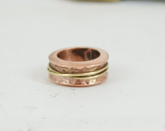 Copper ring Ring with bras Unique ring Bohemian ring Copper jewelry Gihts for him  Gihts for her  Mens ring Womens ring
