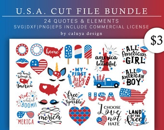 July 4th SVG Cut File Bundle Deal | Cut File for Cricut & Cameo Silhouette | America DXF Cut File | Independence Day, Patriots, USA svg