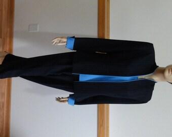 Vintage 3-pc Pantsuit, size 10, Navy Blue Pinstripe, Sleeveless Top, Long Sleeve Jacket, Retro Pant Suit #394
