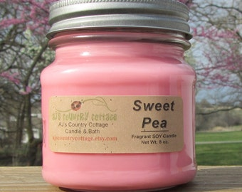 SWEET PEA SOY Candle - Floral Candles - Flower Candles - Spring Candles - Sweet Pea Candles - Soy Candles