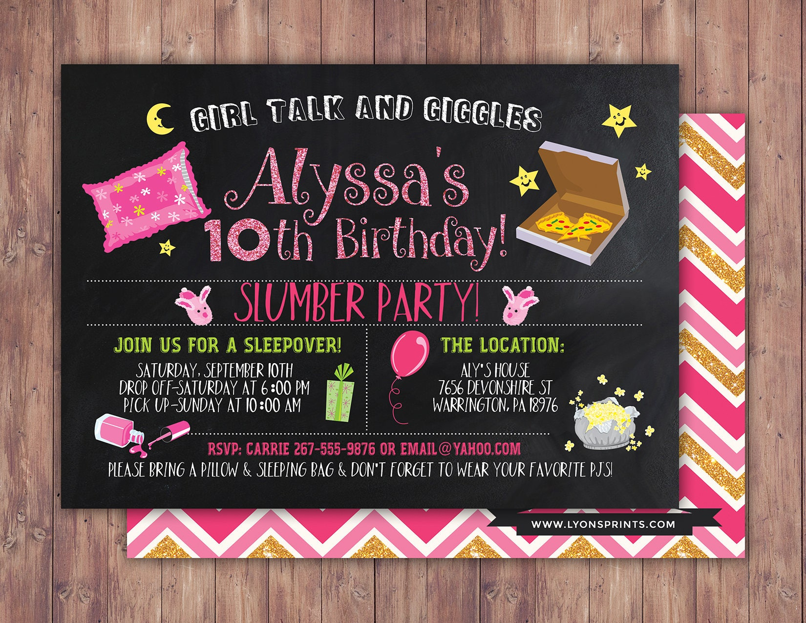slumber party invitation / girls slumber party invitations ...