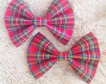 Red Tartan Collar Bow