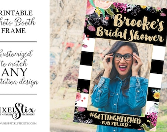 Kate Printable Bridal Shower Photo Prop Frame, Wedding Photo Prop, Baby Shower Photo Prop DIGITAL  - Bachelorette Party, Black White Stripes