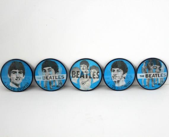 Vintage Beatles Flicker Pin Back Buttons, 1960s Set of 5 by Vari-Vue, Flasher Flip Pinback
