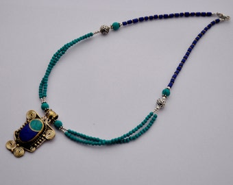 DIY Necklace Kit - Afghani Turquoise Lapis Beads Handmade Focal Pendant with Brass Findings  M02
