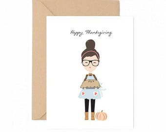 Happy Thanksgiving girl Greeting Card
