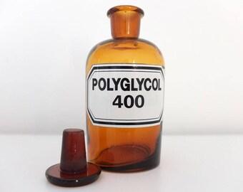 Pharmacist bottle Pharmacies glass Brown glass Pharmacist Polyglycol 400 Vintage pharmacy bottle