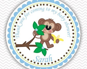 Blue Monkey - Personalized Stickers Baby Shower Birthday , Party Favor Tags, Thank You Tags, Gift Tags, Address labels, Baby Shower