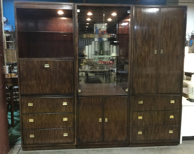Ca. 1970s Drexel Heritage 3 Piece Bar Unit in Walnut Campaign Style Illuminated interiors