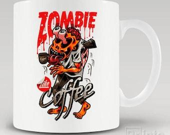 Funny novelty coffee mug Zombie like coffee, gift for him or her