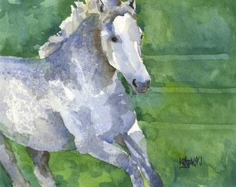 Gray Horse Running Art Print of Original Watercolor Painting 11x14