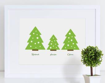 Personalised Family Christmas Print | Family Print | Personalised Christmas print | Christmas Print | Festive Print | Christmas Tree Print