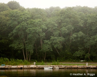 Foggy Landscape, boat, trees, mist, nature, water, summer, photograph