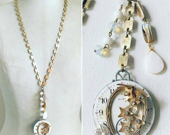 Vintage Watch Necklace, Long Pendant Necklace, Shooting Star Necklace
