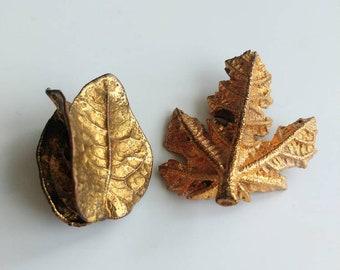 Vintage goldtone real leaf brooches