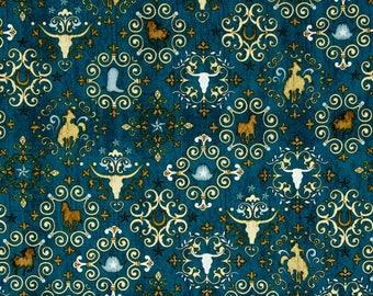 Unbridled Western Horse Cowboy Blue Cow Head Steer Horseshoe Swirl Scroll Fabric 24694-O BTY 1 Yd