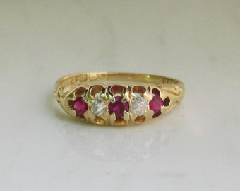 Antique Diamond and Ruby Gypsy Ring set in 18k Gold with Full British Hallmarks, Size 5.5