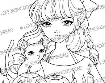 Digital Stamp Halloween Girl Black Cat, Witch, Digi Download, Jack O' Lantern, Holiday Greetings, Coloring Page, Clip Art, Scrapbooking