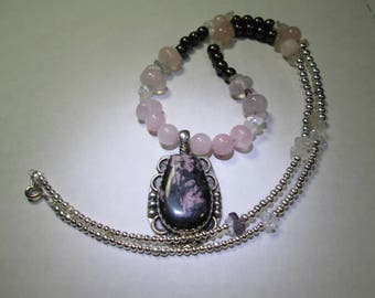 Necklace/Pendant... Rhodonite...sterling silver