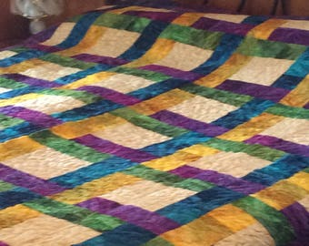 Beautiful Batik Handmade and Quilted Bed Quilt