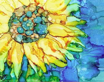Sunflower, Painting, Contemporary, Abstract, Summer flower, Bright