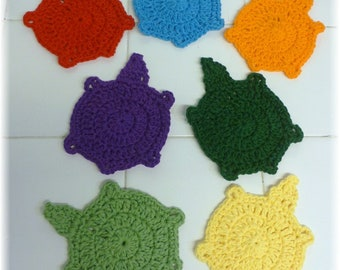 Turtle Washcloths Dishcloths Coasters Assorted Colors Cotton Seven