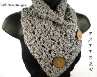 Crochet Scarf Pattern, Button Scarf, Crochet Button Cowl, Neckwarmer, Crochet Scarf, Crochet Cowl, Button Cowl Crochet Pattern, #113