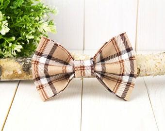Brown Plaid Dog Bow Tie// Pet Bow Tie