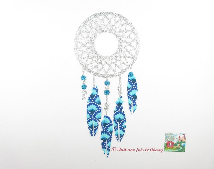 Applied fusible Dreamcatcher dream catcher Petit Pan fabric Indian turquoise glitter flex silver patch iron patches pattern