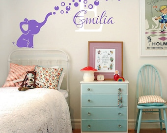 Elephant Bubbles Nursery Decal- Personalized Name Wall Decal - Elephant and Bubbles Nursery Wall Decal  #832C