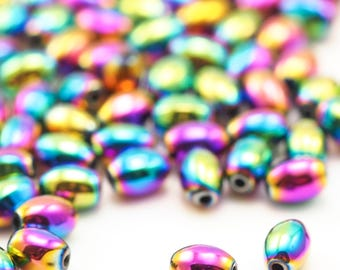 50 Smooth Oval Beads - Rainbow Plated Brass in 5 Sizes 100% Guarantee