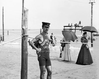 Vintage Image 1910 Lifeguard at Brighton Beach NY - 8 x 10 - Instant Download