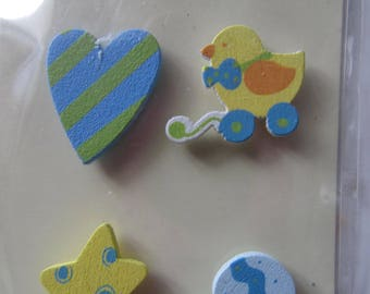 Set of 4 mini wooden sticker on the back - baby boy Theme decoration