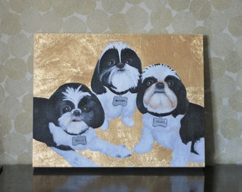 """Custom Pet Portrait 11""""x14"""", Gold Leaf, Personalized Pet Memorial Dog Cat, Birthday Gift Idea Mom Dad Husband Wife Parent Christmas Holiday"""