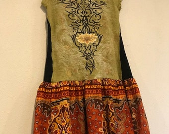 The Cleo Frock/Tunic: Upcycled, festival, mystical, tribal, eco friendly, sustainable clothing, size small, Melbury Road