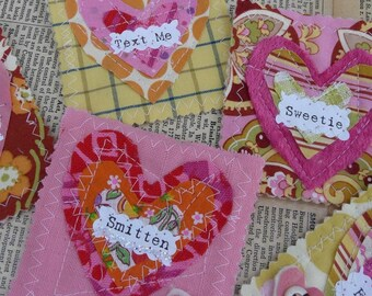 retro VALENTINE Scrappy Heart Pin Pattern PDF - Be Mine brooch jewelry gift primitive sayings words