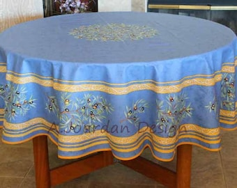 French Provence PETITE OLIVE BLUE Acrylic Coated Round Tablecloth - French Oilcloth Indoor Outdoor Tablecloths - Matching Napkins Available